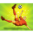 Soccer Player Flying Shooting a Ball vector image