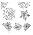 spider web set halloween design isolated on white vector image vector image