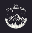 t-shirt design with mountains forest and night vector image