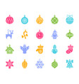 tree decorations color silhouette icons set vector image