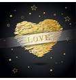 valentine heart created from golden lines with vector image vector image