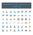 weather and insurance icon set with filled vector image vector image
