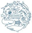 Sea animals line icons vector image