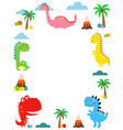 animal frame with dinosaurs vector image