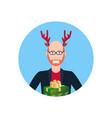 bald man wearing deer horns merry christmas happy vector image vector image