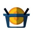 basket buy coin color shadow vector image