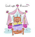 bedroom for a girl princess style bed canopy vector image
