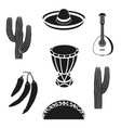 black and white 7 mexican elements vector image