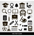 Black icons set of education on a gray vector image vector image