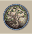 bonsai tree in round frame