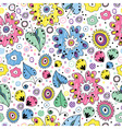 bright seamless floral pattern painted markers vector image vector image