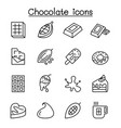 cacao chocolate cocoa icon set in thin line style vector image
