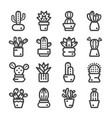 cactuses thine line icon vector image vector image