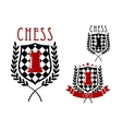 Chess emblems with rook on chessboard shield vector image vector image