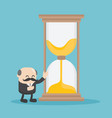 chief business man who is offering hourglass vector image vector image