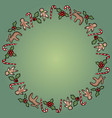 christmas holly and candies ornamental wreath vector image vector image