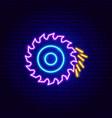 circular saw neon sign vector image