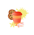 coffee to go disposable paper cup cookies with vector image vector image