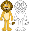 Cute Humanoid Lion With Lineart vector image vector image