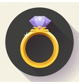 Diamond gold ring icon Flat 20 design vector image vector image