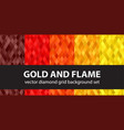 diamond pattern set gold and flame seamless vector image vector image