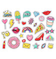 fashion patches comic doodle girl badges teenage vector image
