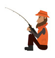 fisherman with rod vector image vector image