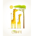 Fun Cartoon African Giraffe Animals Eating Foliage vector image