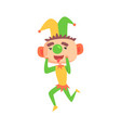 funny cartoon clown in a jester hat with green vector image vector image