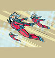 girl superhero flying in a futuristic space suit vector image vector image