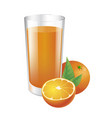 glass of orange juice and oranges vector image vector image