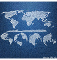 globe on the blue denim texture vector image vector image