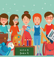 group of teachers with school supplies vector image vector image