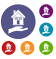hand holding house icons set vector image vector image