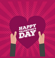 happy valentines day lettering card hold hands vector image vector image