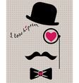 hipster in bowler hat with heart vector image vector image