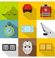 Hockey game icons set flat style vector image vector image
