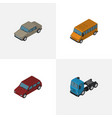 isometric automobile set of truck car auto and vector image vector image