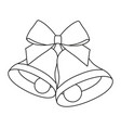 line art black and white two bells with ribbon bow vector image