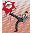 Man kicking ball in comic pop vector image