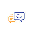message speech bubbles with smile line icon vector image