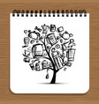 notebook design kitchen utensils tree vector image vector image