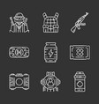 online game inventory chalk icons set esports vector image vector image