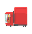 red cartoon semi truck cargo transport vector image vector image