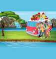 scene with family trip river vector image