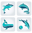 Sea animals mosaic icons vector image vector image