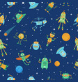 seamless space robots pattern cute robot in space vector image vector image
