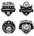 set of volleyball sport emblems design element vector image vector image