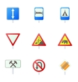 Sign on road icons set cartoon style vector image vector image
