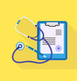 stethoscope patient clipboard icon flat style vector image